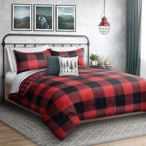 King 3PC Comforter Set • Buffalo Plaid • Red/Black